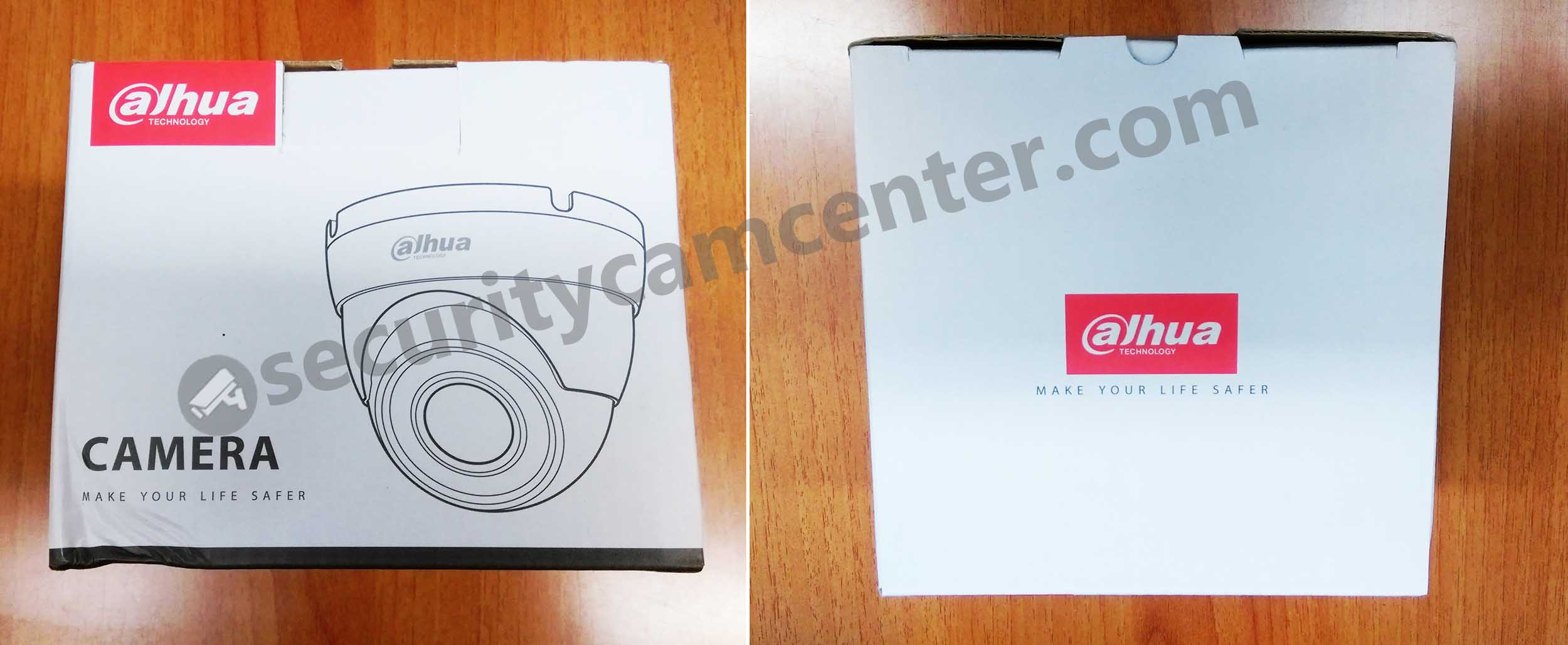 This is the retail box of DH-IPC- HDW4421M. The Dahua's logo is stamped on the box and the camera itself.
