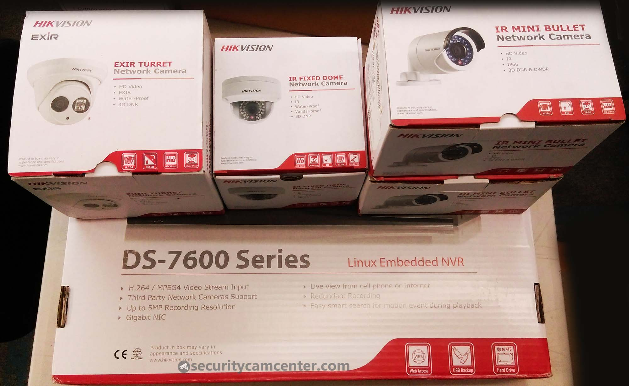 Hikvision IP surveillance system with 4 to 8 cameras.