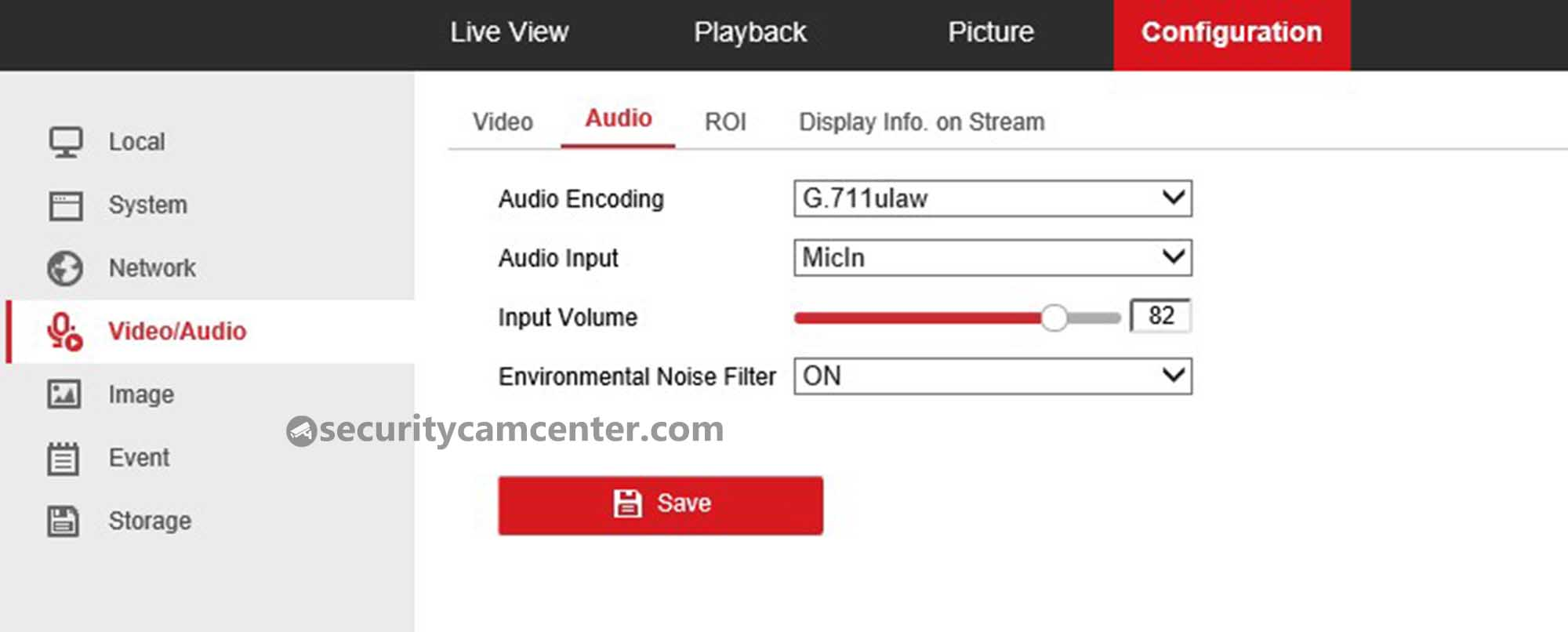 Here you can tweak the audio settings of the camera. Increase the input volume for a better performance.