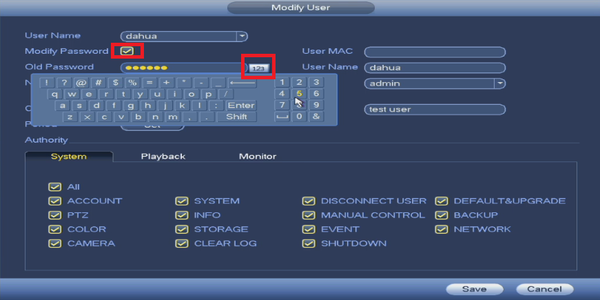 Change password on Dahua Recorder.