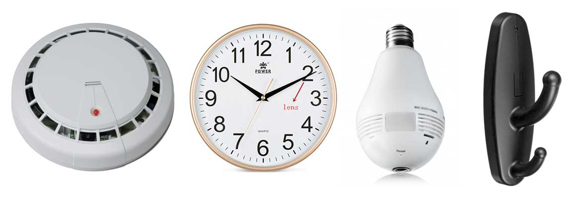 Hidden spy cameras: smoke detector, clock, light bulb, clothes hook. Check the list below for more ideas.