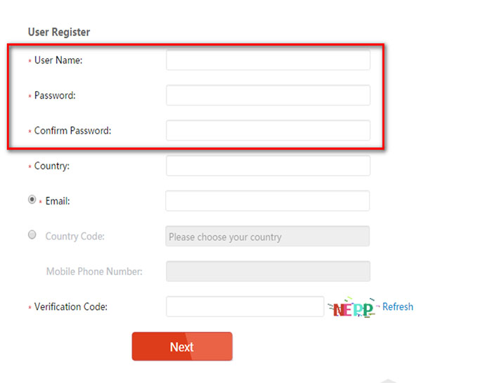 Create your username and password.